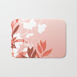 Pantone Living Coral Botanicals and Butterflies Graphic Design Bath Mat