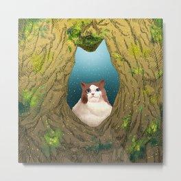 Luna in a tree hole Metal Print