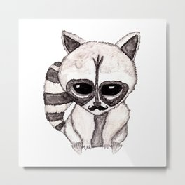Adorable Watercolor Raccoon with Painted Mustache Metal Print