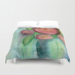 Abstract red flower in a blue vase Duvet Cover