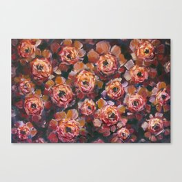 Red violet flowers rose peony oil painting by artist Valery Rybakow! Canvas Print