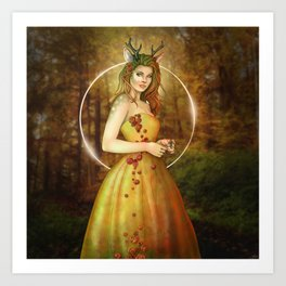 Autumn Woodland Fairy Art Print