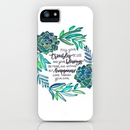 Succulent Wreath with Irish Blessing iPhone Case