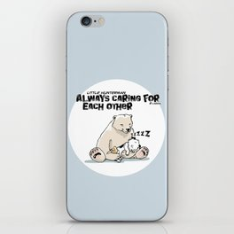 Little Hunterman – Always Caring for Each Other /white circle on blue iPhone Skin