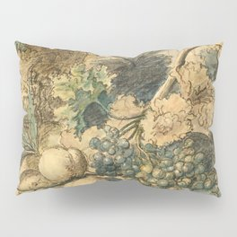 """Jan van Huysum """"Still life with flowers and fruits"""" (drawing) Pillow Sham"""