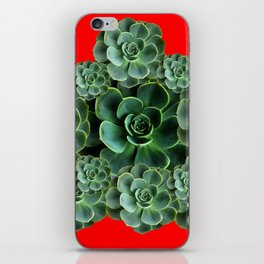 CHINESE  RED ART JADE GREEN SUCCULENTS iPhone Skin