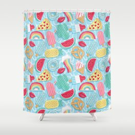 Epic pool floats top view // blue background Shower Curtain