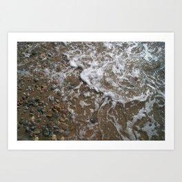 Wave Foam and Beach Rocks Art Print