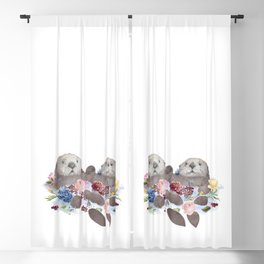 Sea Otters Holding Hands, Love Art Blackout Curtain