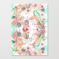 flamingos Canvas Prints featuring FlAmINGOS by Monika Strigel