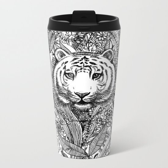 Tiger Tangle in Black and White Metal Travel Mug