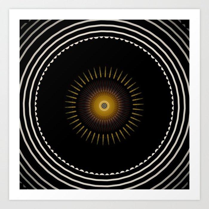 Modern Circular Abstract with Gold Mandala Art Print