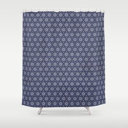 Japanese Yukata Jinbei Asanoha Navy blue Shower Curtain