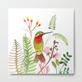 Hummingbird Flowers Metal Print