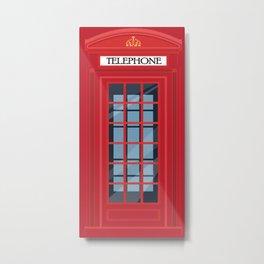 British Telephone Box, Public Phone Kiosk, England Classic Gift Metal Print