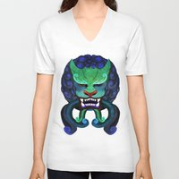 foo fighters V-neck T-shirts featuring Foo dog by kitsunebis