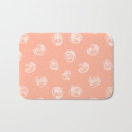 Sweet Life Rosebud Peach Coral Pink Bath Mat