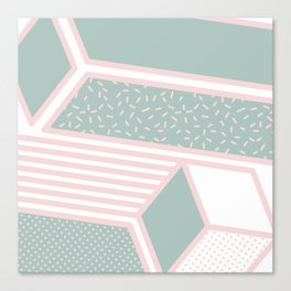 Modern Memphis Illustration - Gemetrical  Retro Art in Pink and Mint -  Mix & Match With Simplicity Canvas Print