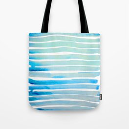 New Year Blue Water Lines Tote Bag