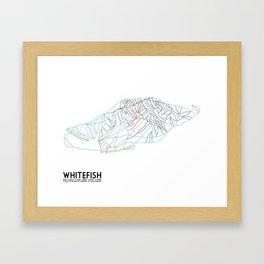Whitefish, MT - Minimalist Trail Art Framed Art Print