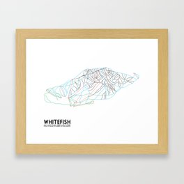 Whitefish, MT - Minimalist Trail Art Framed Art Print