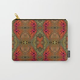 Whimsical pink, orange and green retro pattern  Carry-All Pouch