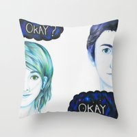 fault in our stars Throw Pillows featuring The Fault In Our Stars by laserghost