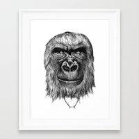 gorilla Framed Art Prints featuring Gorilla  by Кaterina Кalinich