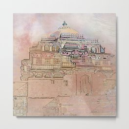 Rajasthan India Temple Sunrise Metal Print