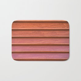 Red colored wooden texture of old shutter Bath Mat