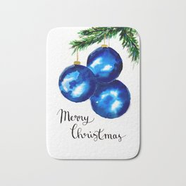 Blue Christmas Tree Ornaments Bath Mat