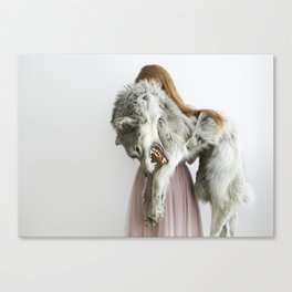 Girl with wolf, II Canvas Print