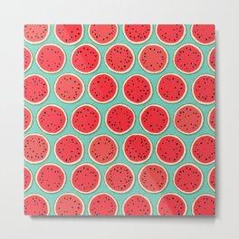 watermelon polka mint Metal Print