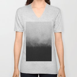 Minimalist Modern Black And white photography Landscape Misty Black Pine Forest Watercolor Effect Sp Unisex V-Neck