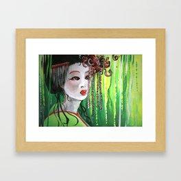 Geisha in Willows: The Arrogant Concubine Framed Art Print