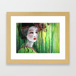 Geisha in Willows: The Arrogant Concubine Framed Art Print