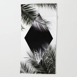 Palm Leaves 3 Geometry Beach Towel