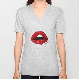 Sexy Red Lips Unisex V-Neck