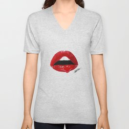 Sexy Red Lips Unisex V-Neck