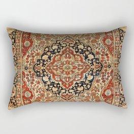 Persian Kashan Old Century Authentic Colorful Burnt Orange Yellow Vintage Rug Pattern Rectangular Pillow