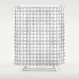 Buffalo Checks Plaid in Dove Gray and White Shower Curtain