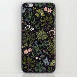 Herbarium ~ vintage inspired botanical art print ~ black iPhone Skin