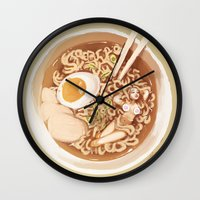 ramen Wall Clocks featuring Ramen Noodles by Kristy Carroll