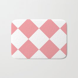 Coral Pink and White Checkered Bath Mat