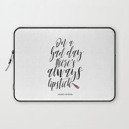 Inspirational Poster On A Bad Day There Is Always Lipstick Fashion Quote Printable Wall Art Laptop Sleeve