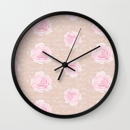 Watercolor Roses on Blush with French Script Wall Clock