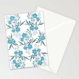 Blue Tropical Flower Transparent Stationery Cards