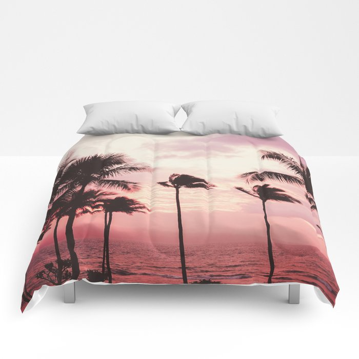 Tropical Palm Tree Pink Sunset Comforters