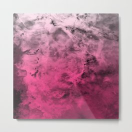 Liquid Space Nebula : Gray to Pink Ombre Gradient Metal Print