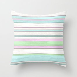Chic Pastel Colors Funky Retro Grunge Stripes Pattern Throw Pillow